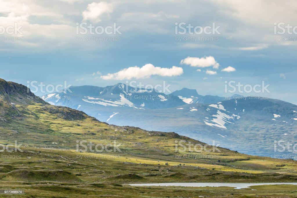 Sylarna mountain view in the swedish mountains - Royalty-free Aerial View Stock Photo
