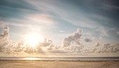 Beachchairs on the beach with a huge sky of Sylt
