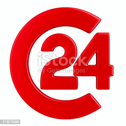 istock Symbol 24 hours on white background. Isolated 3D image 515076090