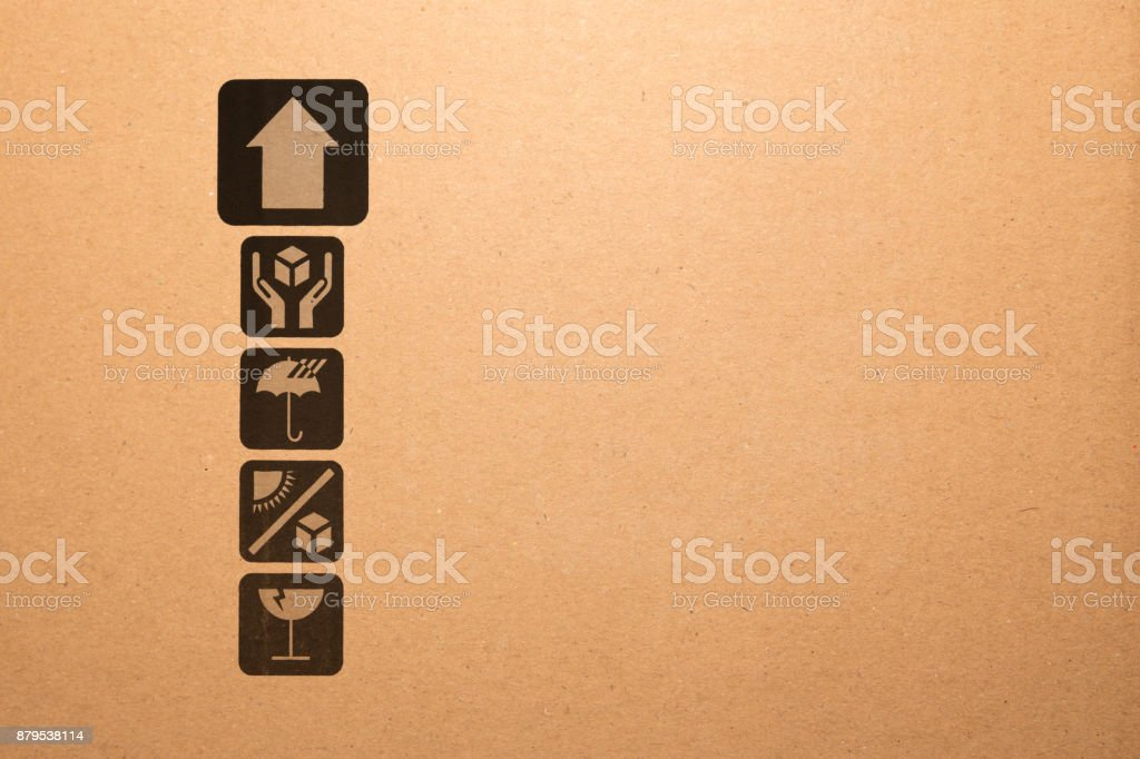 Symbol box Paper texture brown sheet background. stock photo