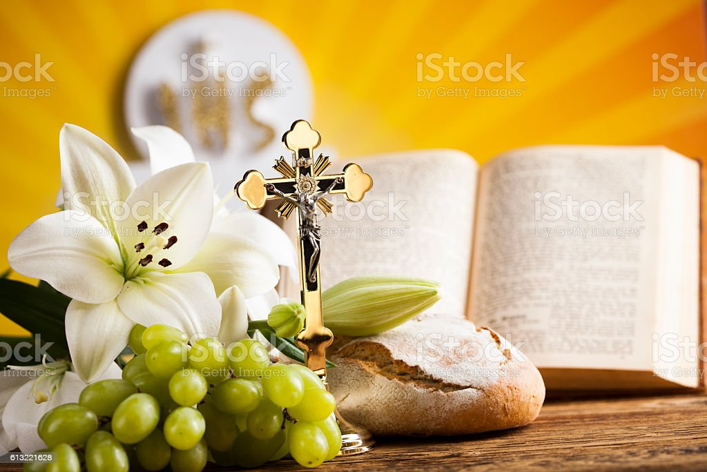 Symbol christianity religion a golden chalice with grapes and br stock photo