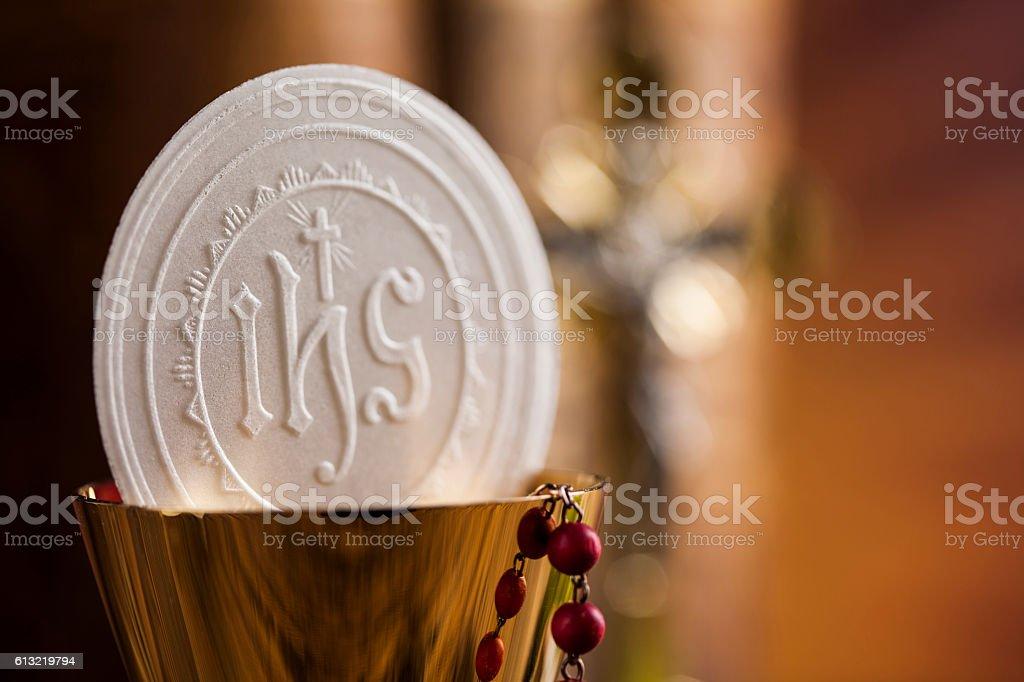 Symbol christianity religion, communion background stock photo