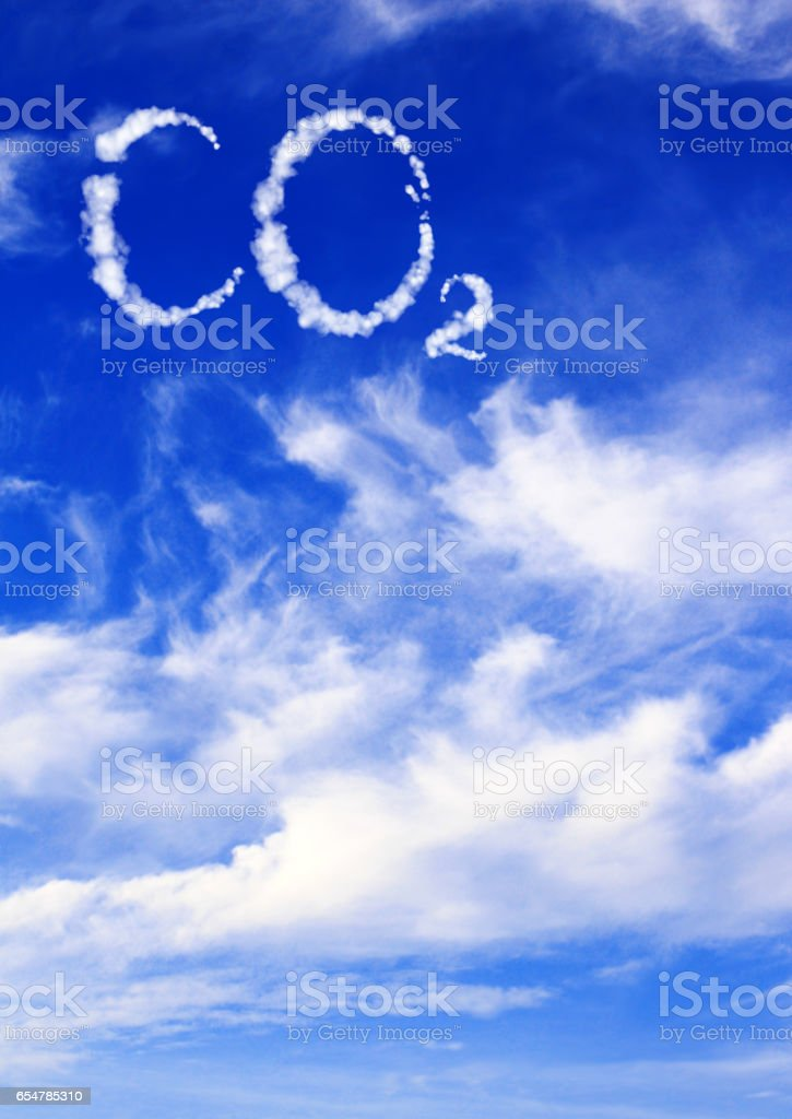 Symbol CO2 from clouds stock photo