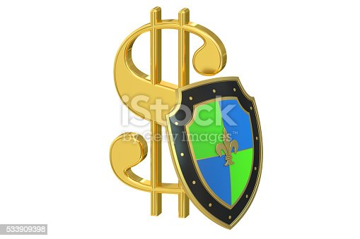 symbol dollar with shield, financial  stability concept. 3D rendering