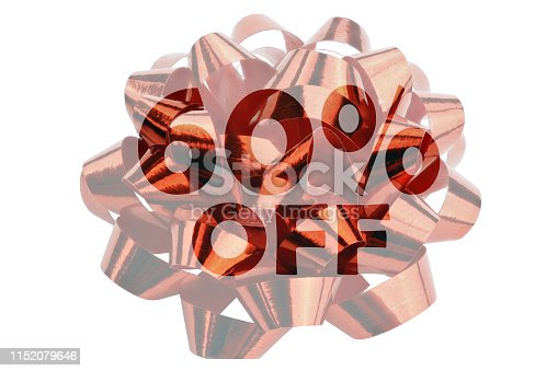 Symbol for a discount over 60% in the form of a highlighted text 60% off in front of a red gift ribbon - isolated on white