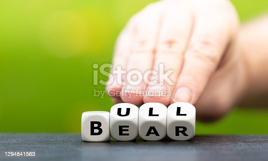 Symbol for a positive trend at the stock market. Hand turns dice and changes the word Bear to Bull.