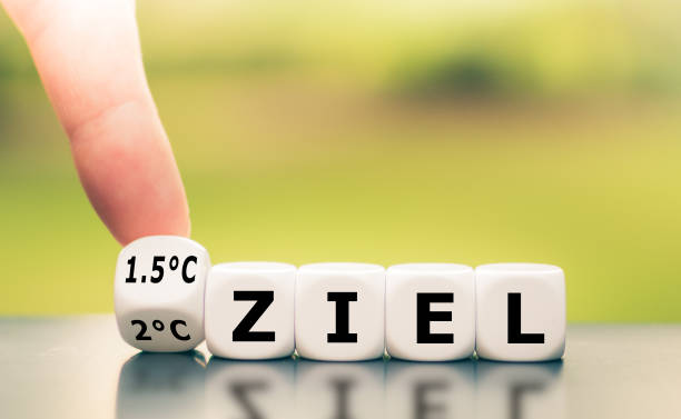 Symbol for limiting global warming. Hand turns a dice and changes the German expression