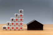 Symbol for rent increases. Dice form the German word