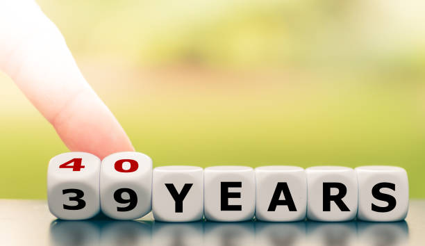 symbol for the 40th birthday or a 40th anniversary. - 40 years stock pictures, royalty-free photos & images