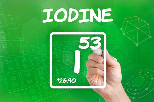 symbol for the chemical element iodine - spoorelement stockfoto's en -beelden