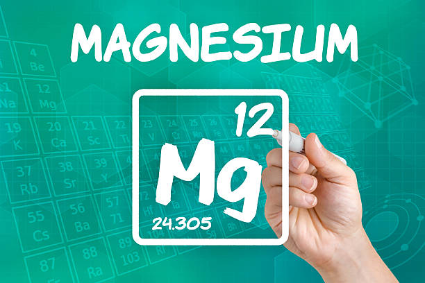 symbol for the chemical element magnesium - magnesium stock photos and pictures