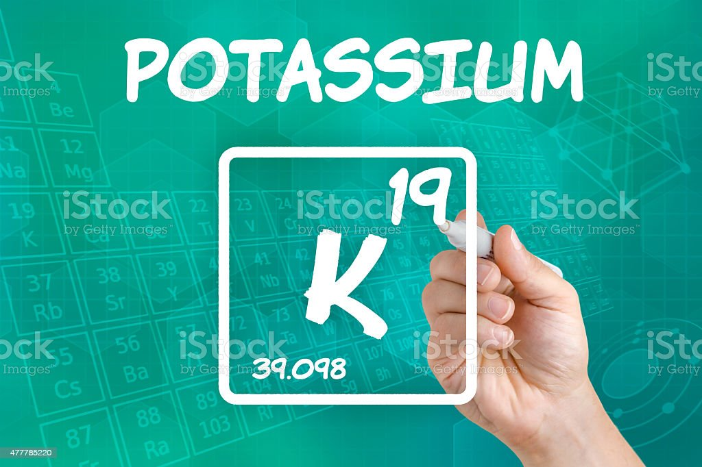 Symbol for the chemical element potassium stock photo