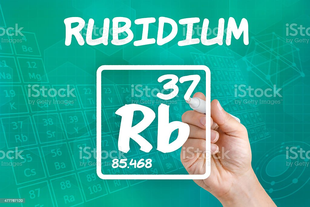 Symbol for the chemical element rubidium stock photo