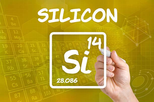 symbol for the chemical element silicon - spoorelement stockfoto's en -beelden