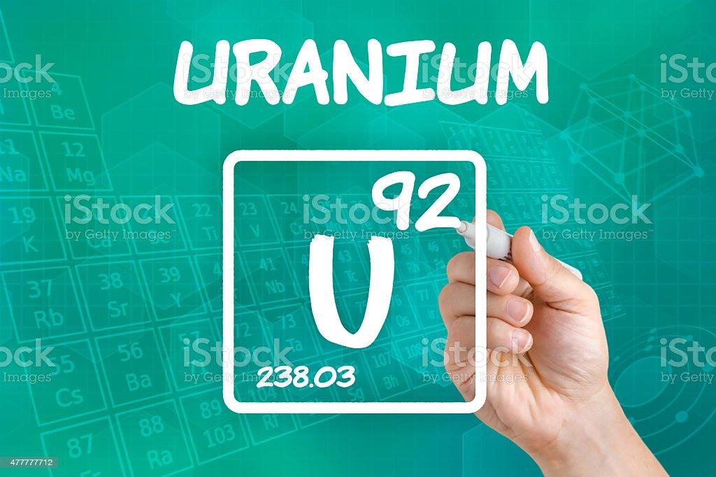 Symbol for the chemical element uranium stock photo