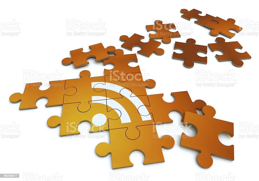 RSS symbol in a puzzle royalty-free stock photo
