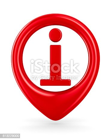 istock symbol information on white background. Isolated 3D image 513229000