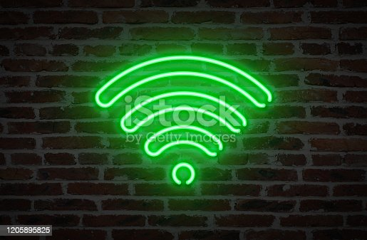 istock WIFI Symbol Neon Light Sign on Brick Wall Background 1205895825