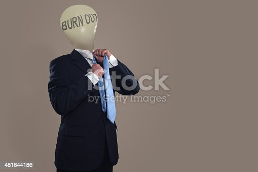 istock Symbol of a businessman with burn out syndrome 481644186