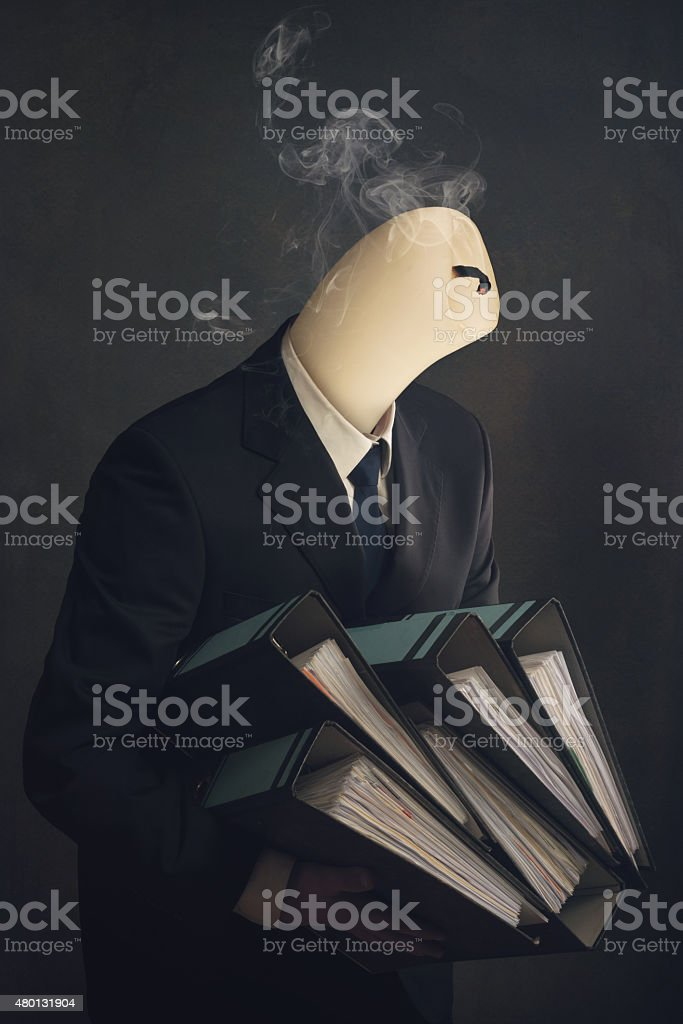 Symbol of a employee  with burnout syndrome stock photo