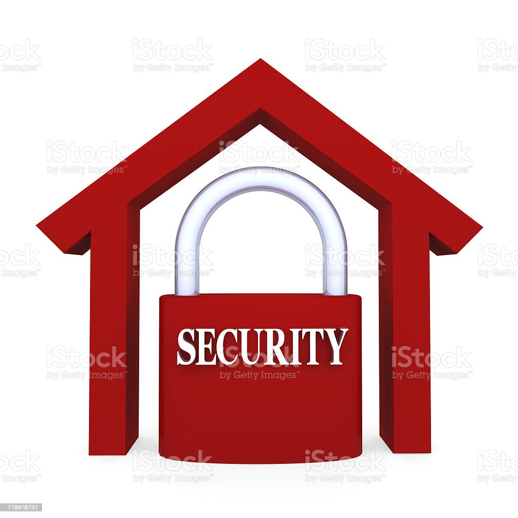 A symbol of a home and a lock in red royalty-free stock photo