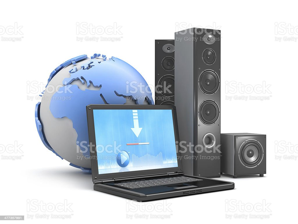 Symbol of downloadable music - laptop, speakers and earth globe stock photo