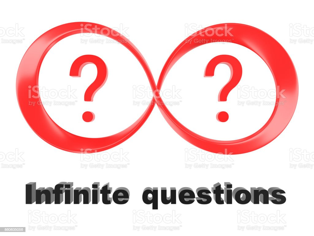 Symbol Of Infinity And Question Marks Isolated On A White Background