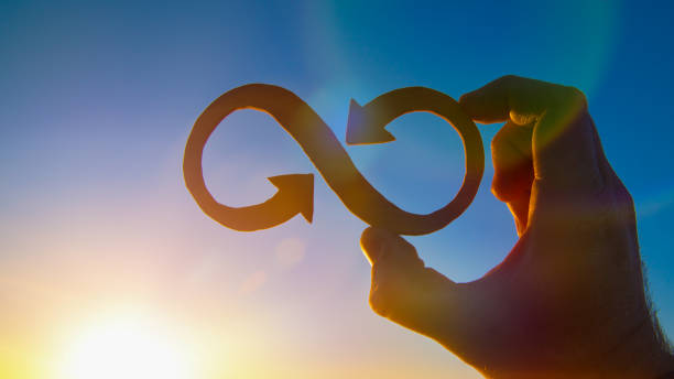 A symbol of infinity in the hand of a man against the sky and the glare of the sun, business concept idea. A symbol of infinity in the hand of a man against the sky and the glare of the sun, business concept idea. eternity stock pictures, royalty-free photos & images
