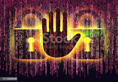 istock Symbol of internet security with binary character hand and padlock 1212500046