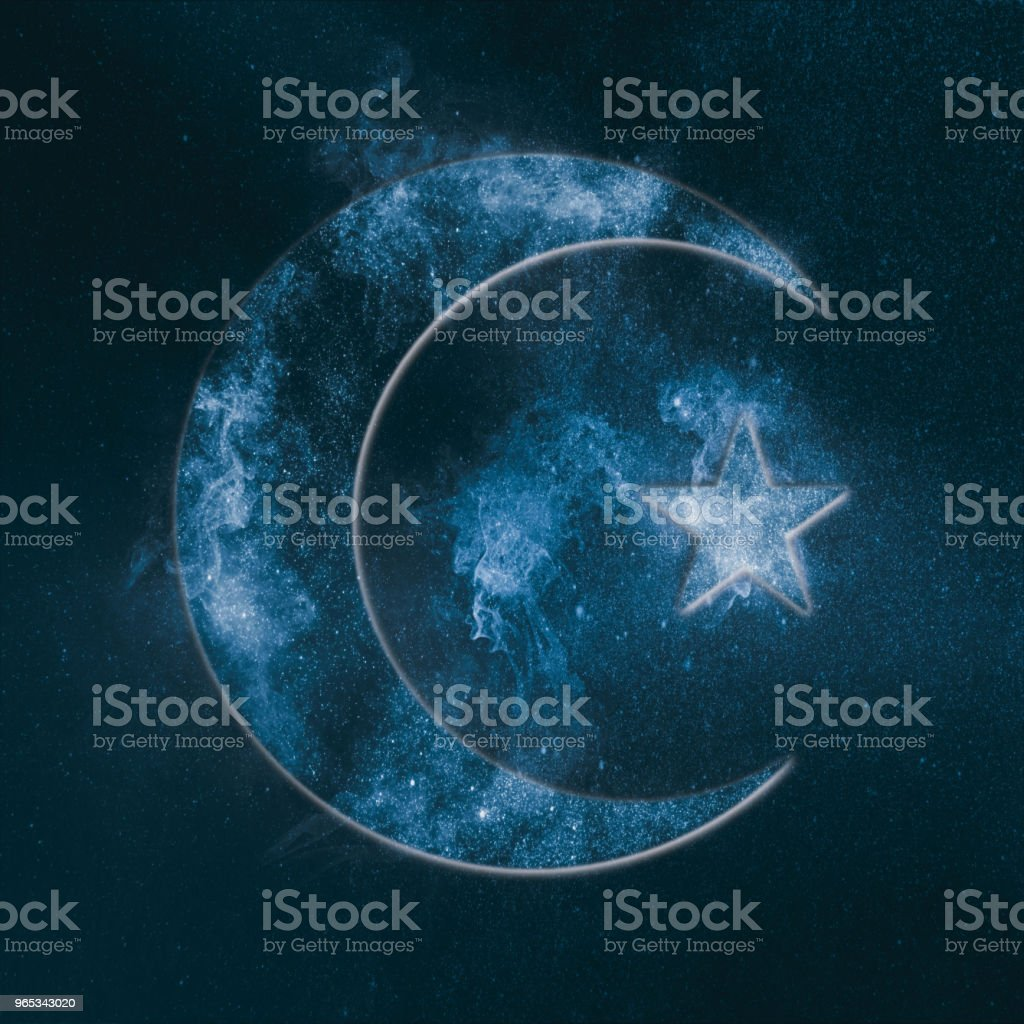 Symbol of Islam. Star and crescent moon. Abstract night sky background. royalty-free stock photo
