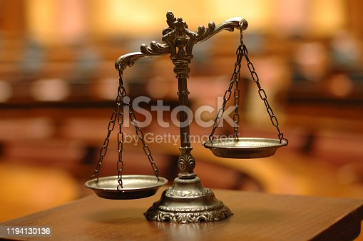 istock Symbol of law and justice , decorative Scales of Justice 1194130136