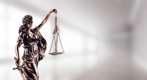 Symbol of law, Themis in modern hall. stock photo