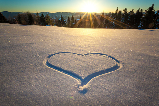 Heart drawn on the snow