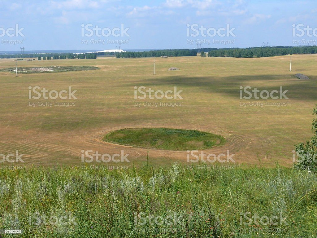 Symbol of oval in the field royalty-free stock photo