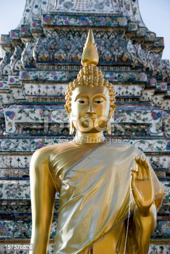 Thai Buddha in front of a stupa.