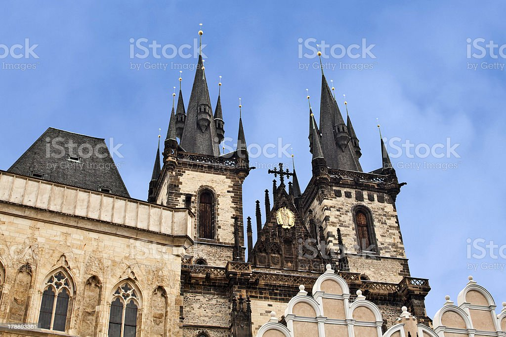 Symbol of Prague: Tyn church royalty-free stock photo