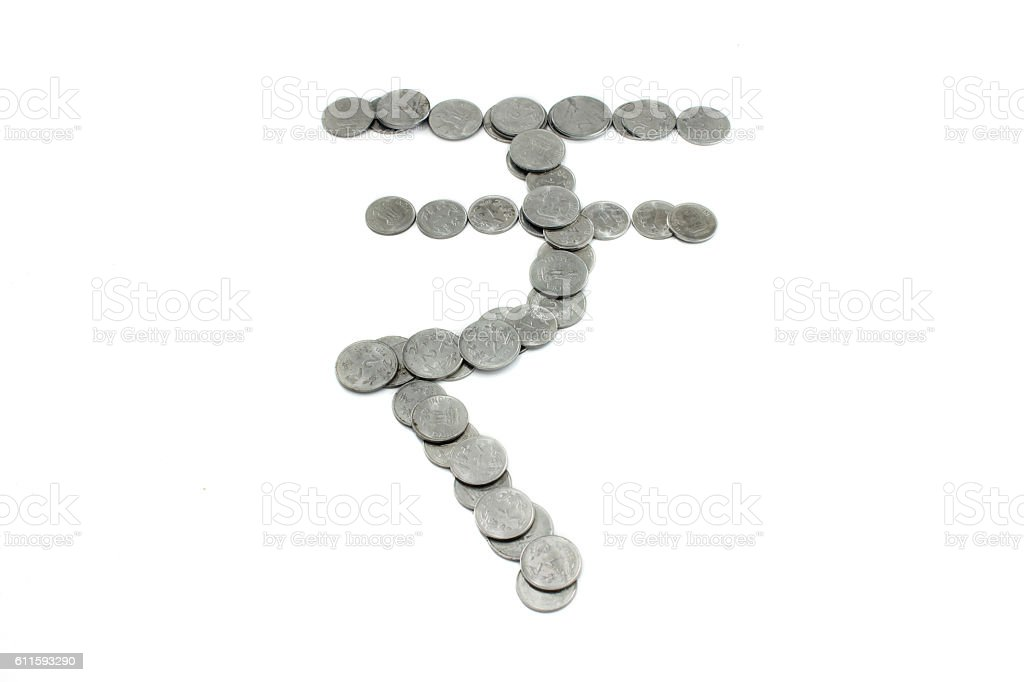 Symbol of rupee with indian coins on white Background stock photo