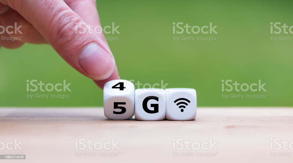 Symbol of the change from 4G to 5G stock photo