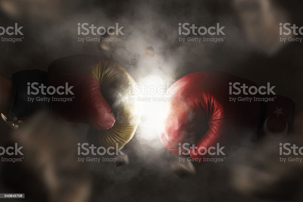 Symbol of the Crisis between Germany and Turkey symbolized with - foto de stock