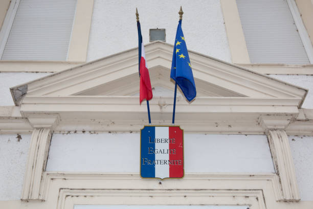 Symbol of the french republic under a building Symbol of the french republic under a building ville stock pictures, royalty-free photos & images