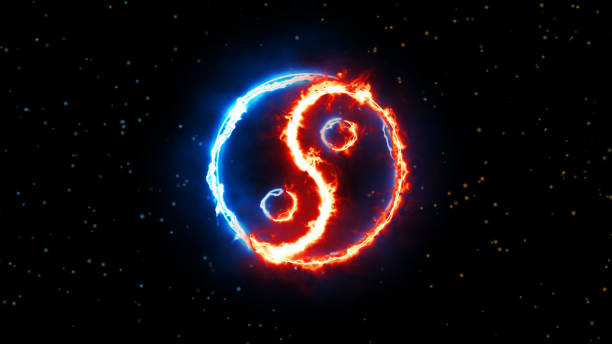 symbol of yin and yang of the dark background - yin yang symbol stock pictures, royalty-free photos & images