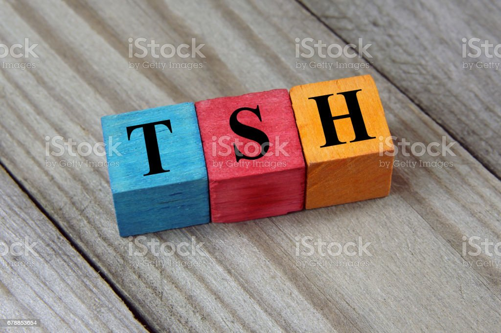 TSH symbol on colorful wooden cube stock photo