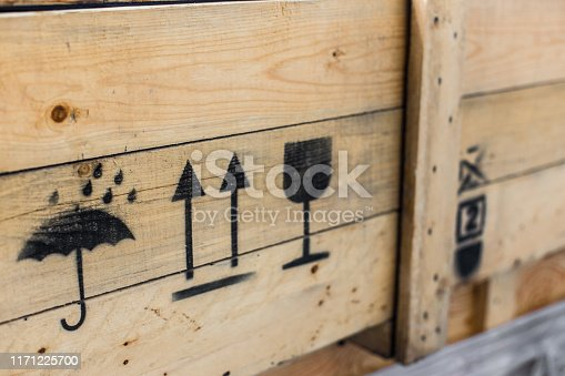Symbol on the cargo crate texture background