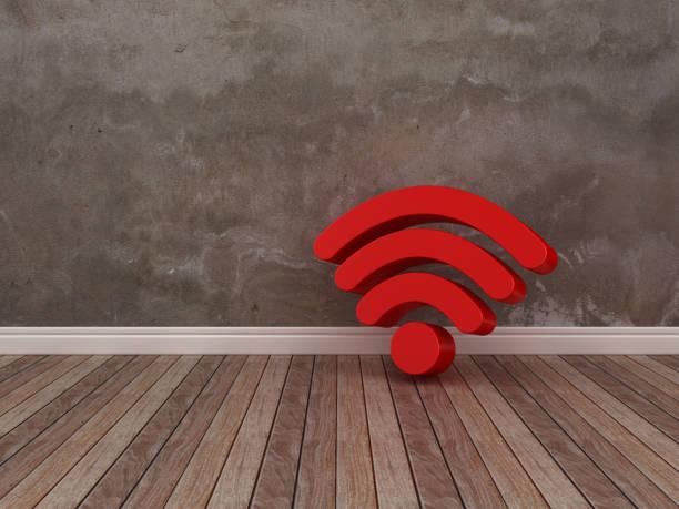 WiFi-Symbol auf Holzboden - 3D Rendering – Foto