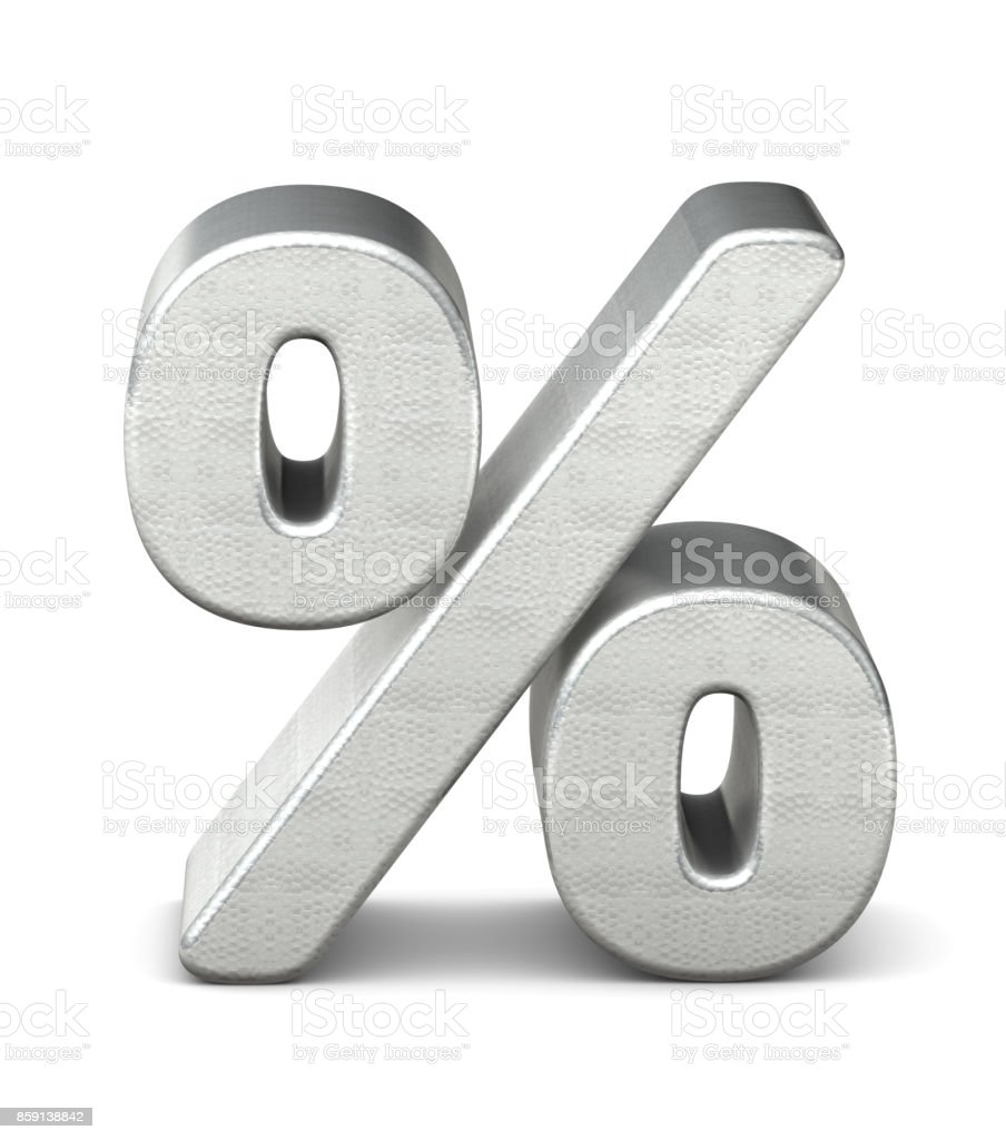symbol percent silver structure 3d rendering stock photo