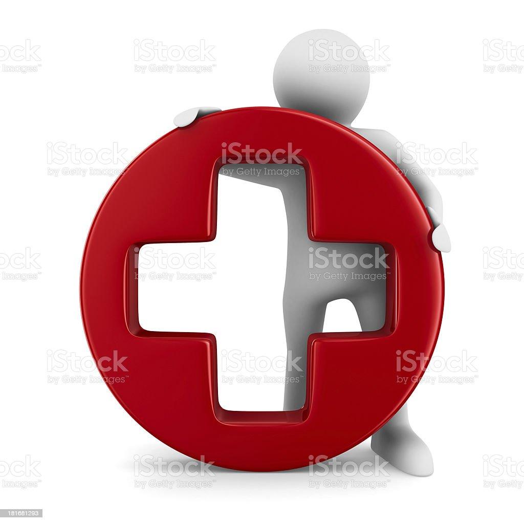 Symbol plus on white background. Isolated 3D image royalty-free stock photo