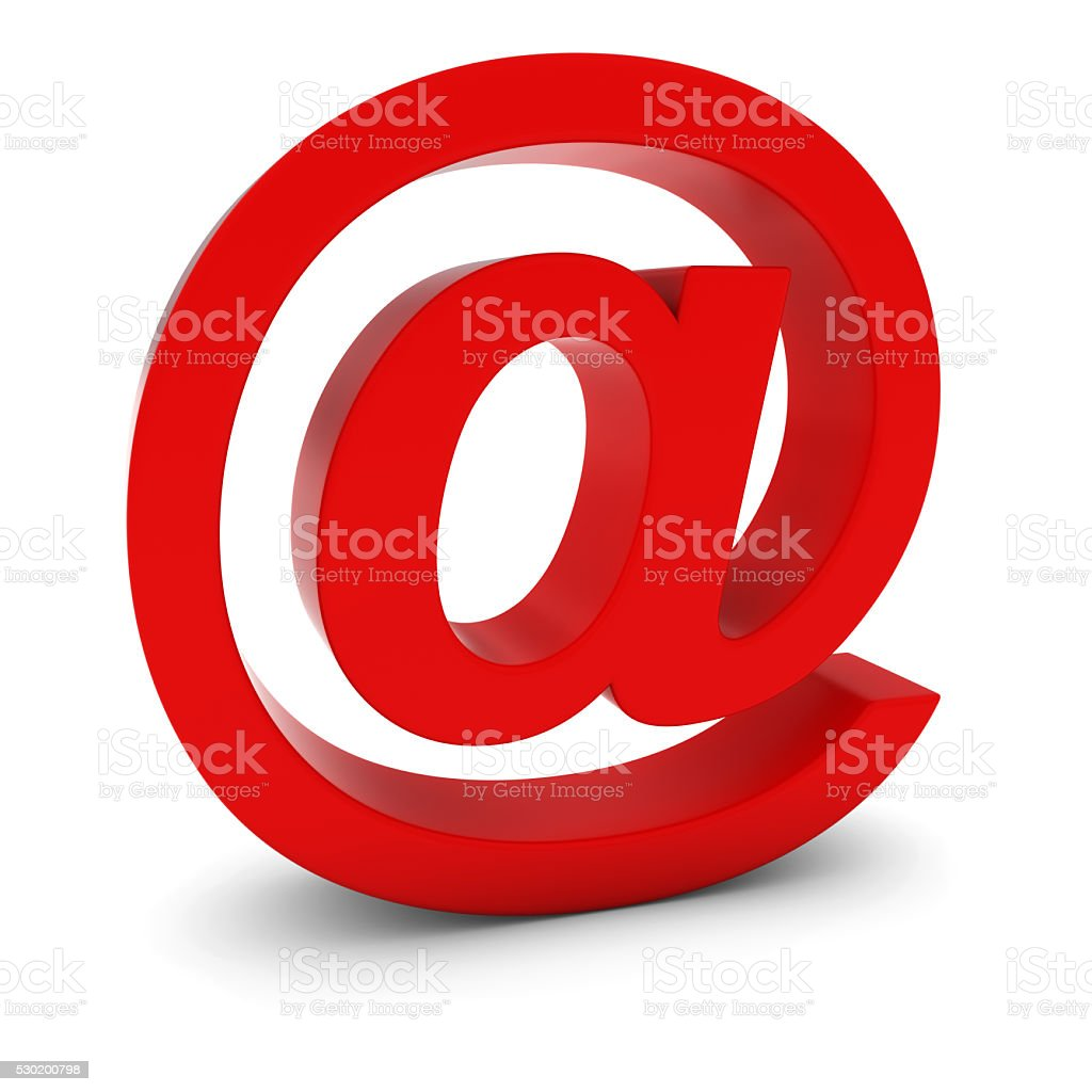 @ Symbol - Red 3D Email Symbol Isolated on White stock photo