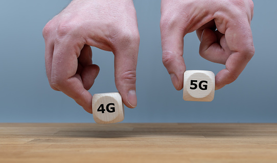 istock Symbol to select 5G (fith generation wireless) instead of 4G 1129586577