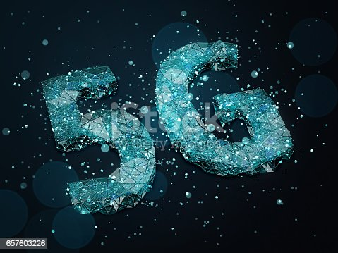 istock 5G symbol with blue particles on dark background. 3D illustration. 657603226