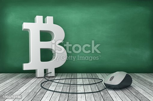 3D BITCOIN Symbol with Computer Mouse on Chalkboard Background - 3D Rendering